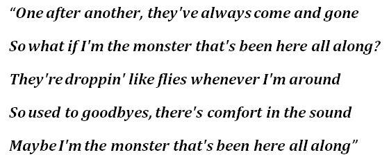 """Lyrics for """"Monster"""""""