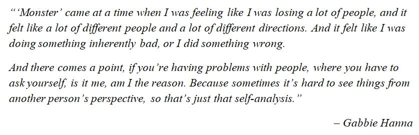"""What Gabbie Hanna said about """"Monster"""""""