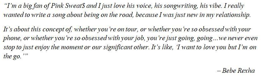 "Bebe Rexha explains ""On The Go"""