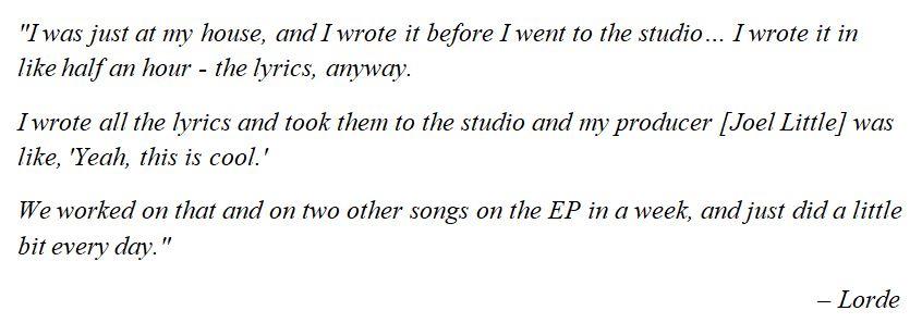 "Lorde explains ""Royals"""