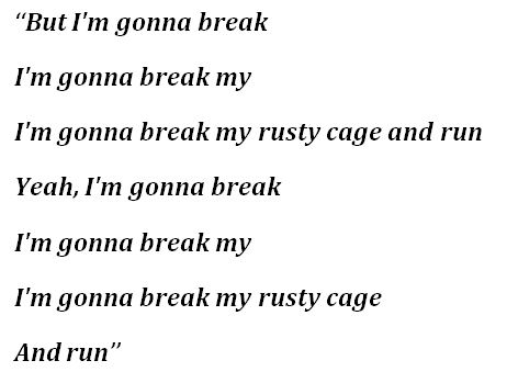 "Lyrics for ""Rusty Cage"""