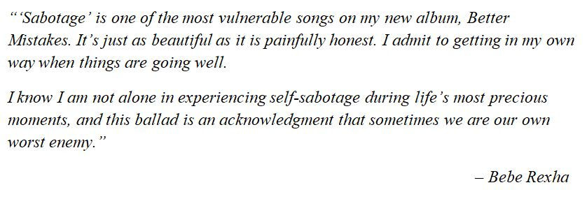 """Bebe Rexha talks about """"Sabotage"""""""