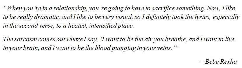 """What Bebe Rexha said about """"Sacrifice"""""""