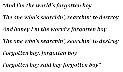 """Lyrics for """"Search and Destroy"""""""