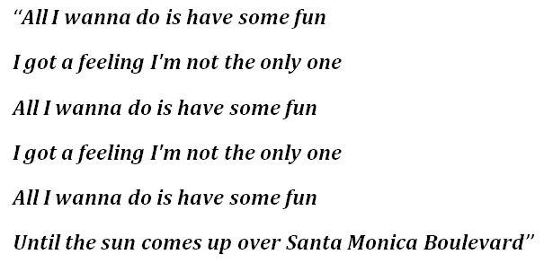 """""""All I Wanna Do"""" Lyrics"""