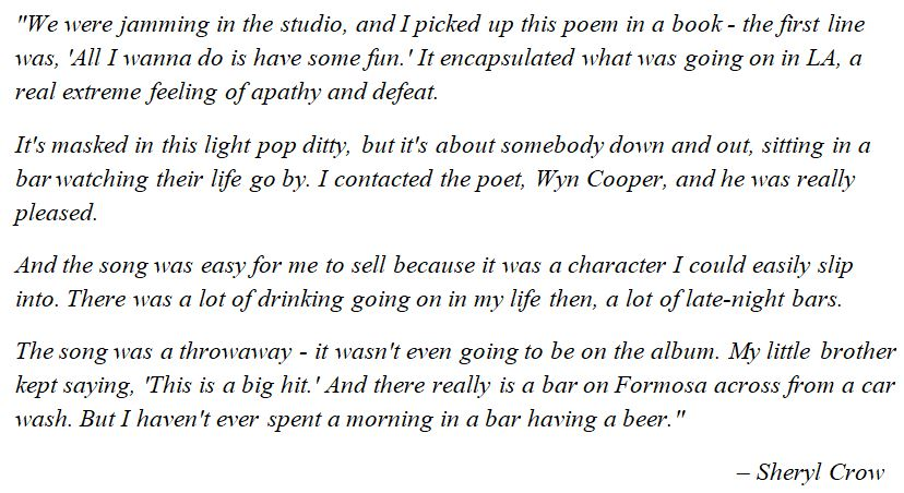 "Sheryl Crow talks about ""All I Wanna Do"""