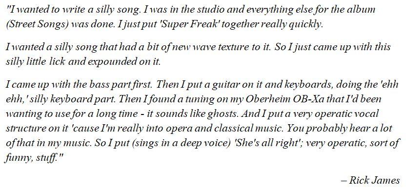 "What Rick James said about ""Super Freak"""