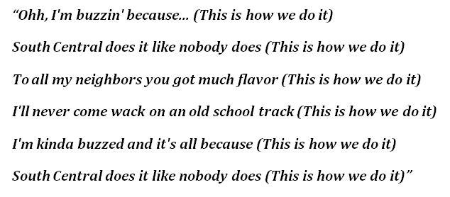 "Lyrics to ""This Is How We Do It"""