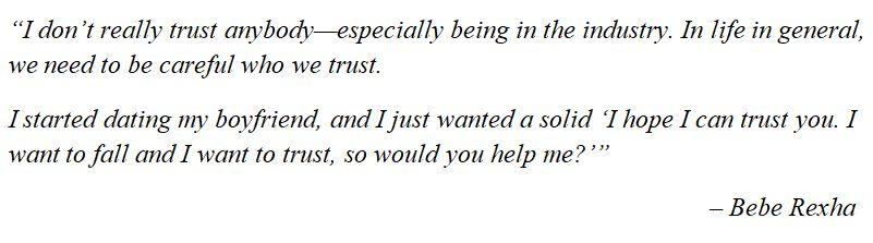 "Bebe Rexha discusses ""Trust Fall"""