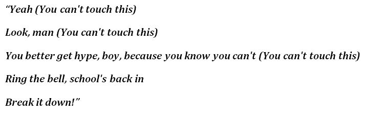 """""""U Can't Touch This"""" Lyrics"""