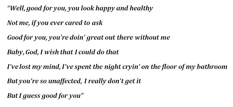 "Lyrics to Olivia Rodrigo's ""good 4 u"""