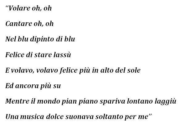 "Lyrics to ""Nel blu, dipinto di blu (Volare)"""