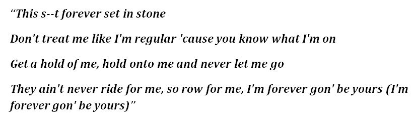 "Lyrics to ""Forever Set in Stone"""