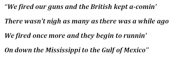 """Lyrics to """"The Battle of New Orleans"""""""