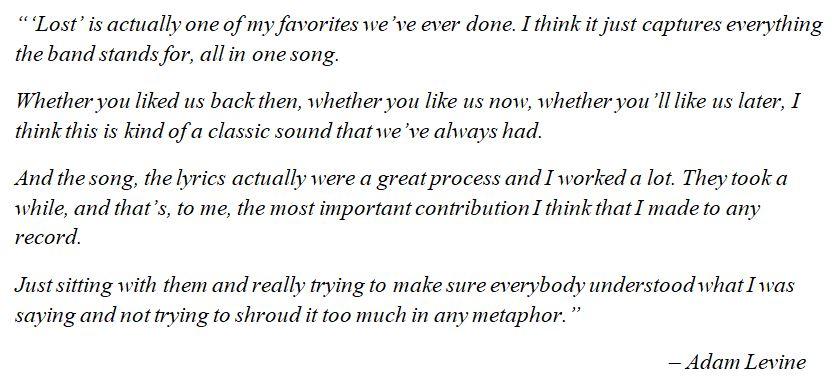 """Maroon 5's Adam Levine discusses """"Lost"""""""