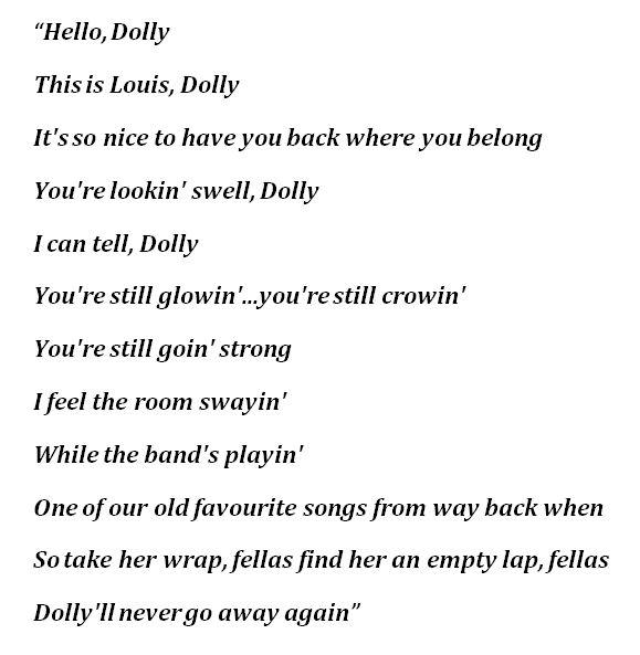 """Lyrics for """"Hello, Dolly!"""""""