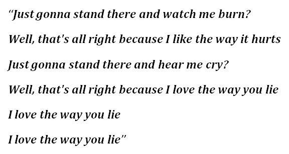 "Lyrics for ""Love the Way You Lie"""