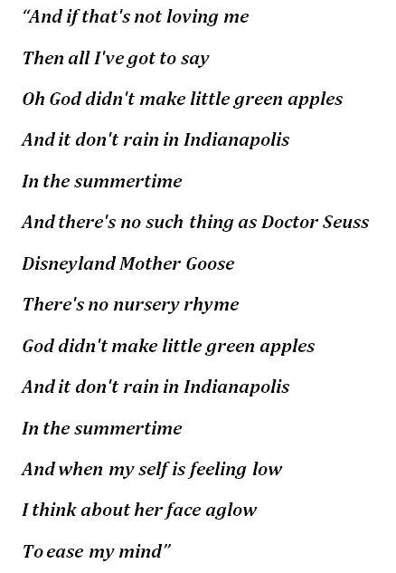 """Lyrics for """"Little Green Apples"""""""
