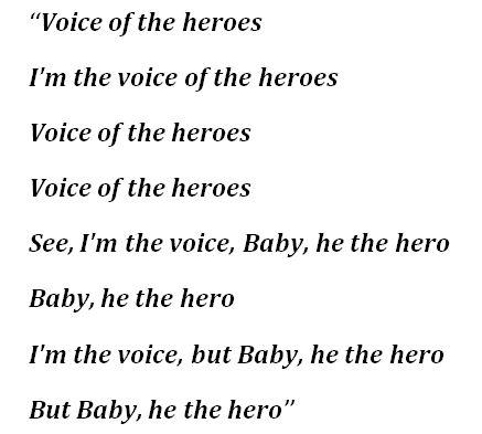 "Lyrics to ""Voice of the Heroes"""