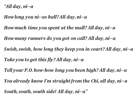 "Lyrics to ""All Day"""