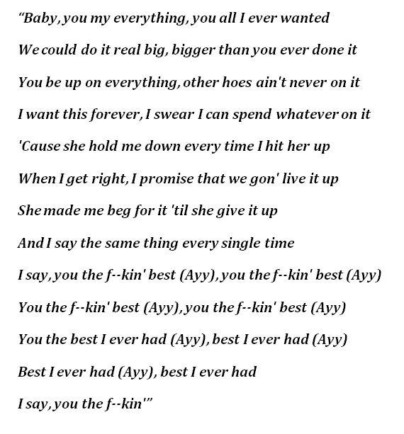 "Lyrics of ""Best I Ever Had"" by Drake"