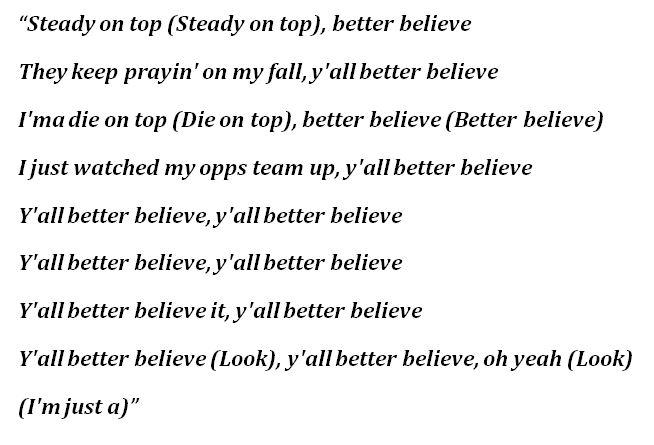 "Lyrics of ""Better Believe"""