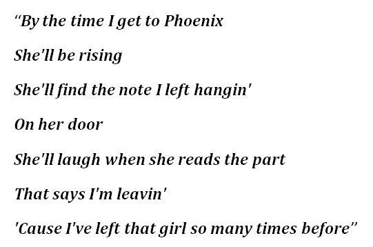"""By the Time I Get to Phoenix"" Lyrics"