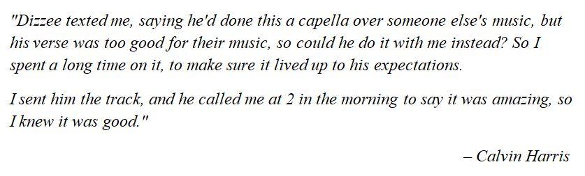 "Calvin Harris talks about ""Dance wiv Me"""