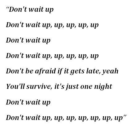 """Lyrics to Shakira's """"Don't Wait Up"""""""