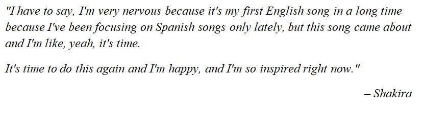 """Shakira discuses """"Don't Wait Up"""""""