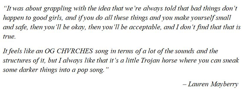 """What Chvrches' Lauren Mayberry said about """"Good Girls"""""""