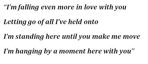"Lifehouse, ""Hanging By A Moment"" Lyrics"