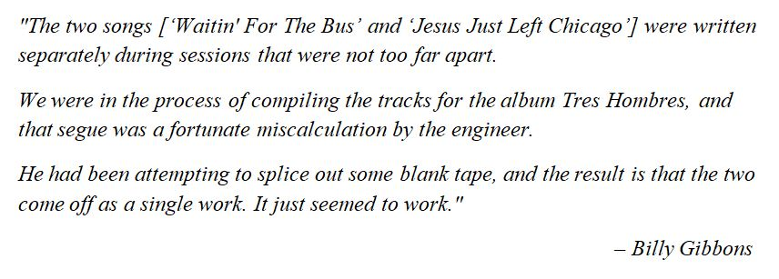 """What Billy Gibbons said about """"Jesus Just Left Chicago"""""""