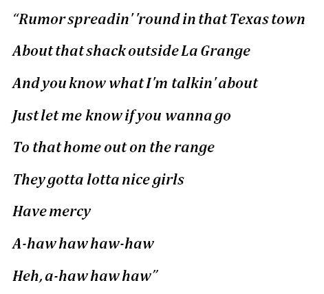 "ZZ Top, ""La Grange"" Lyrics"