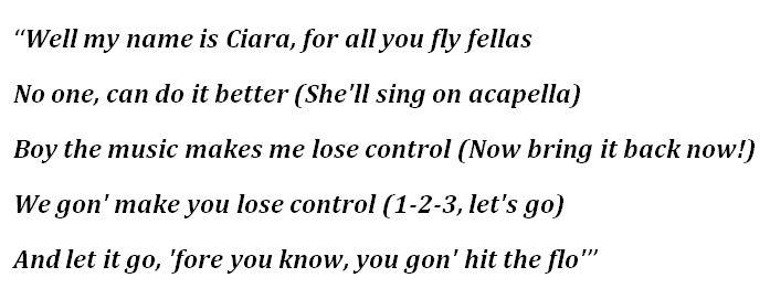 "Lyrics to ""Lose Control"""
