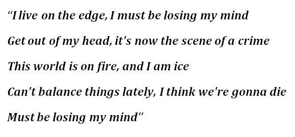 "Lyrics of ""Losing My Mind"""