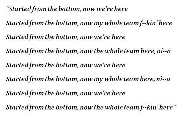 """Lyrics of """"Started from the Bottom"""""""
