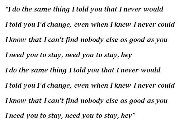 """""""Stay"""" Lyrics"""