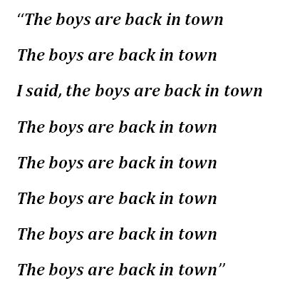 """Thin Lizzy, """"The Boys Are Back in Town"""" Lyrics"""