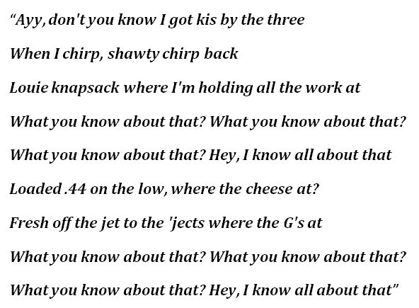 """Lyrics to T.I.'s """"What You Know"""""""
