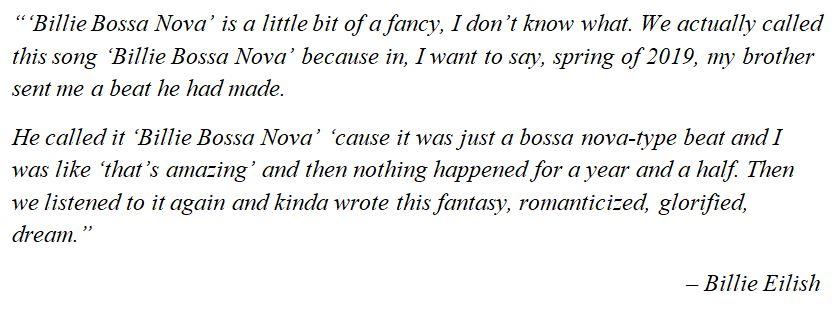 "Billie Eilish discusses ""Billie Bossa Nova"""