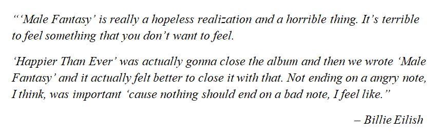 "Billie Eilish talks about ""Male Fantasy"""
