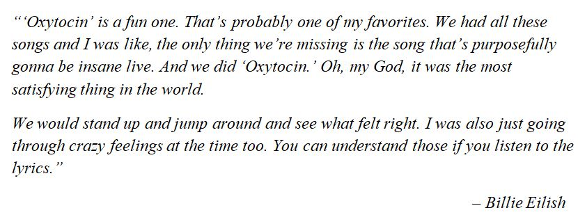 "What Billie Eilish said about ""Oxytocin"""