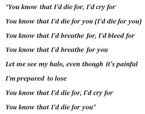 "Lyrics to Bring Me The Horizon ""DiE4u"""