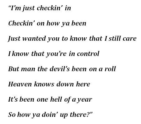 """How Ya Doin' Up There"" Lyrics"