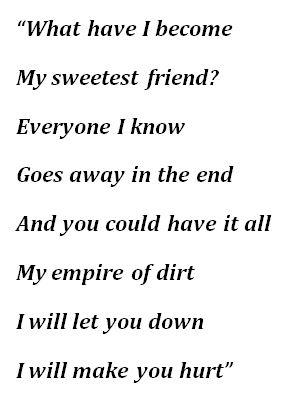 "Lyrics to Johnny Cash's ""Hurt"""
