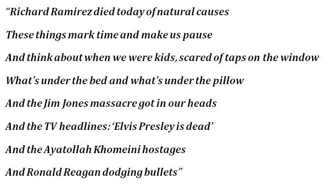 """Richard Ramirez Died Today of Natural Causes"" Lyrics"
