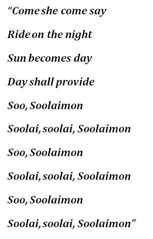 "Lyrics to ""Soolaimon (African Trilogy II)"""