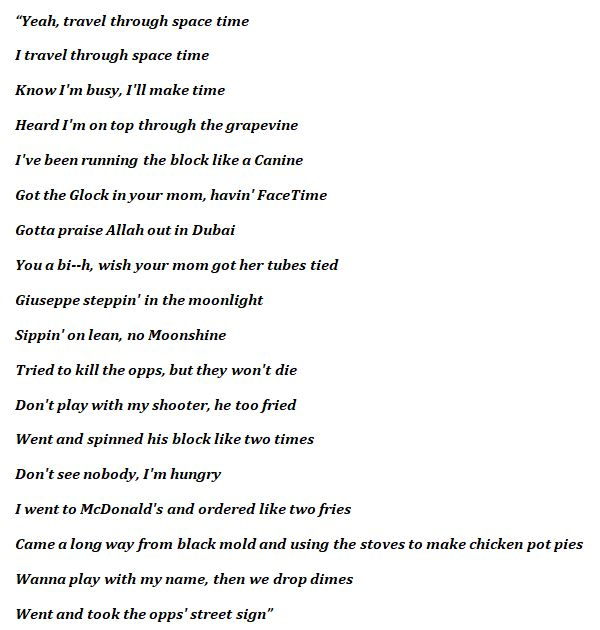 """Lyrics for """"Space Time"""""""