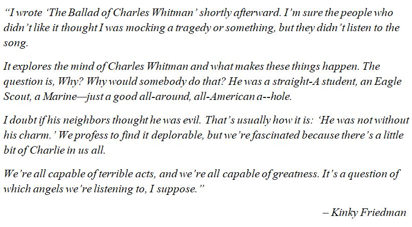 """Kinky Friedman discusses """"The Ballad Of Charles Whitman"""""""